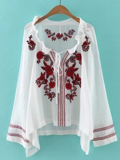 White Drawstring Neck Embroidered Blouse