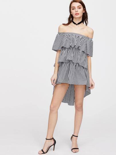 asymetrisches Kleid mit nackten Schultern Rahmen - schwarz weiß
