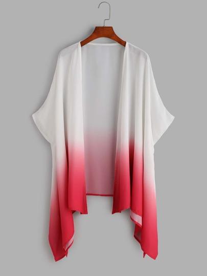 Kimono asimétrico con estampado ombre - rosa