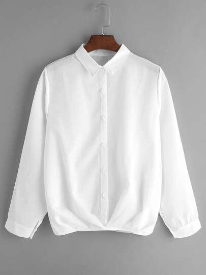 White Button Front Blouse