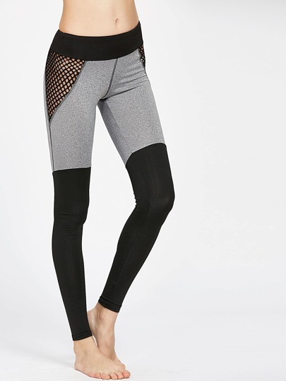 Leggings de malla en rejilla en color block
