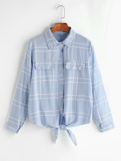 Checked Knotted Hem Shirt