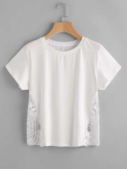 Crochet Insert Hollow Out T-shirt