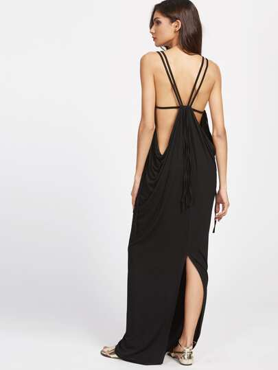 Deep Plunge Neck Draped Slit Back Dress