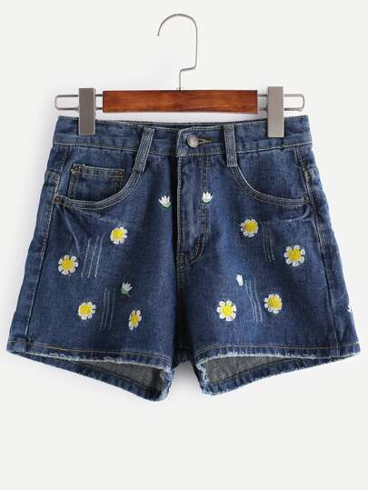 Dark Blue Flower Embroidered Denim Shorts