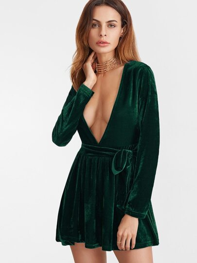 Dark Green Deep V Neck Velvet Dress With Belt