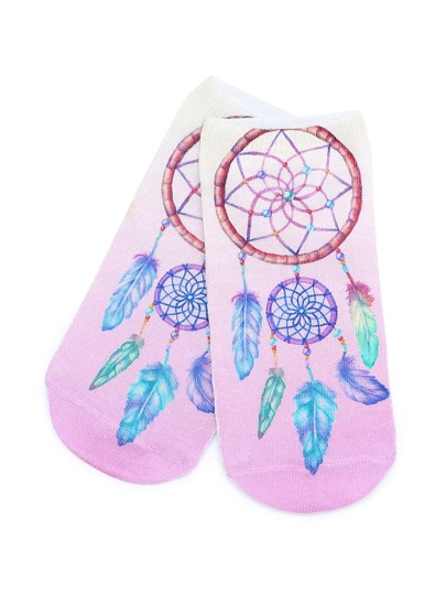 Feather Print Cute Ankle Socks