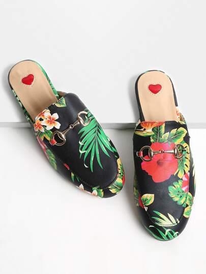 Nero con stampa floreale Mocassino Pantofole