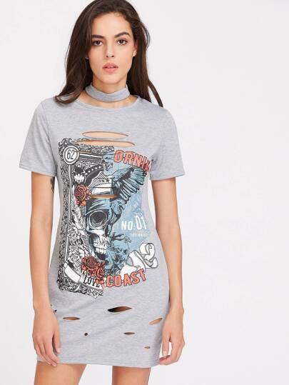 Skull Print Cutout Choker Neck Tee Dress