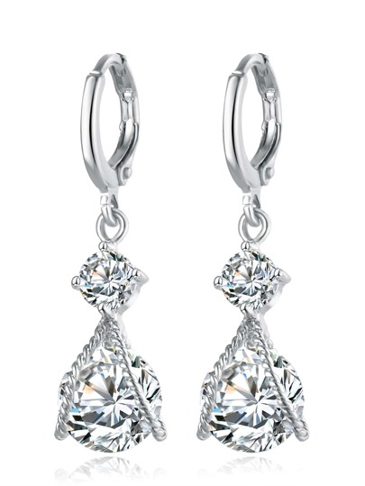 Silver Rhinestone Drop Earrings
