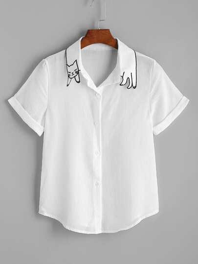 Cat Shape Collar Cuffed Curved Hem Shirt