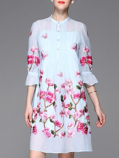Blue Sheer Bell Sleeve Flowers Embroidered Dress