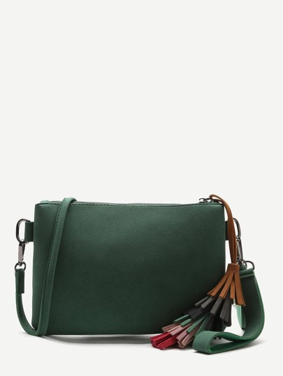 Green Tassel Detail Clutch Bag With Strap