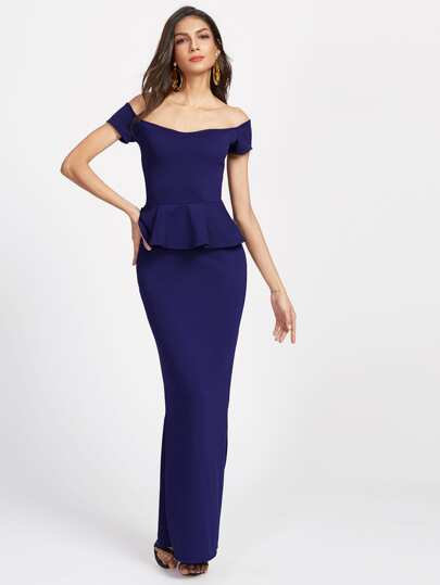 Navy Off The Shoulder Slit Back Peplum Dress