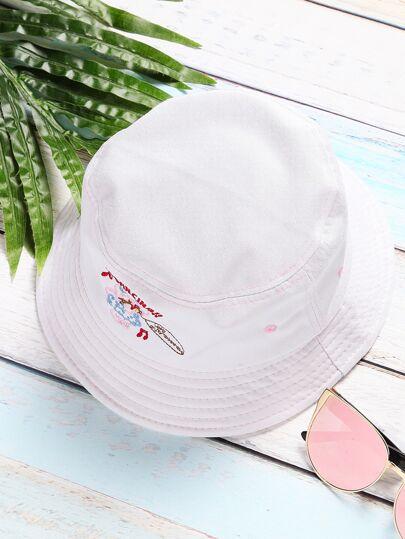 Sombrero con ala ancha y diseño de bordado - blanco