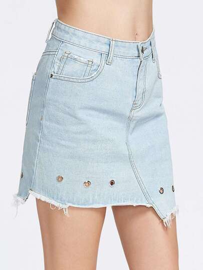 Bleach Wash Eyelet Detail Asymmetric Denim Skirt