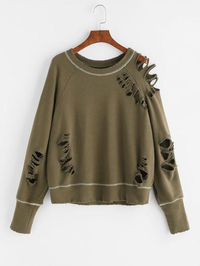 Olive Green Topstitch Detail Raglan Sleeve Distressed Sweatshirt