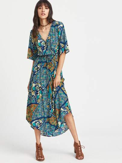 Geo Print Surplice Front Split Back Curved Dress