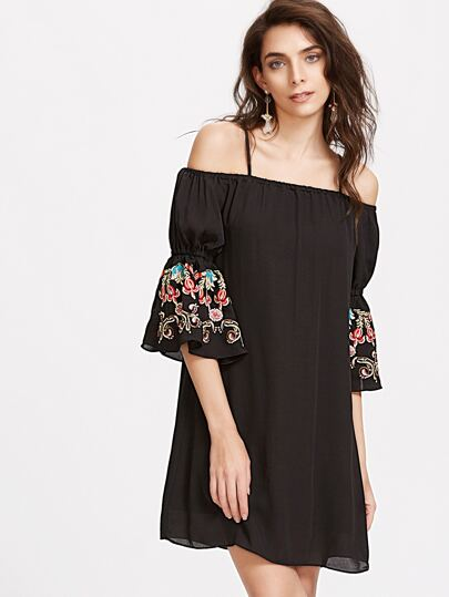 Black Cold Shoulder Bell Sleeve Embroidered Chiffon Dress