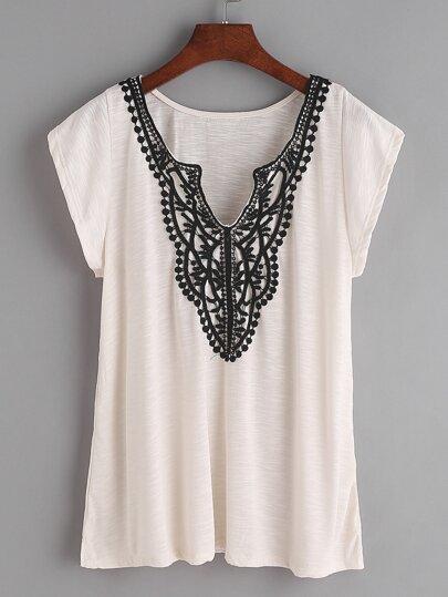 Albicocca contrasto Crochet Trim T-shirt