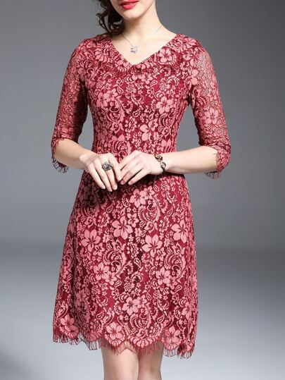 Red V Neck Embroidered Lace Dress