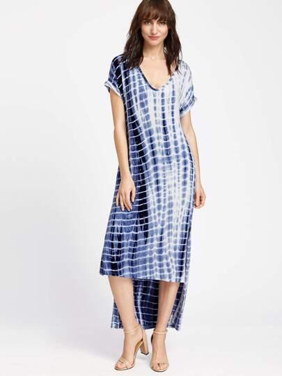 Navy Tie Dye Print Slit High Low Tee Dress