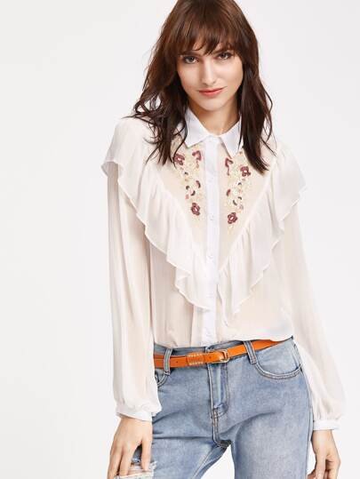 Ruffle Detail Semi Sheer Embroidered Yoke Blouse
