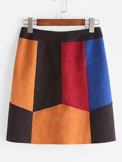 Color Block Cut And Sew Suede Paneled Skirt