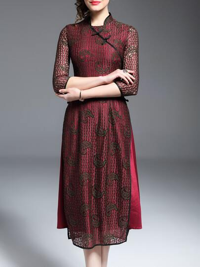 Red Flowers Embroidered Lace Dress