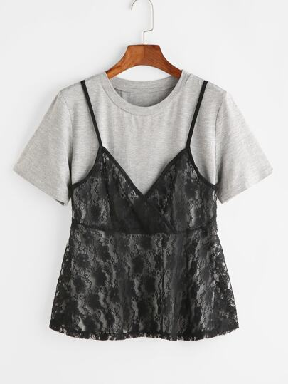 T-Shirt 2 In 1 Pizzo A Fronte - Contrasto
