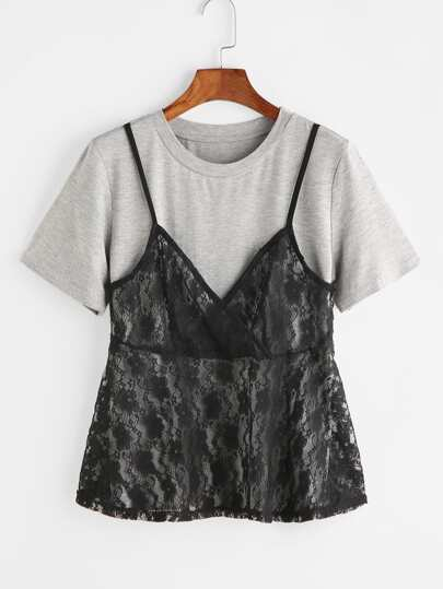 Contrast Lace Cami Front 2 In 1 T-shirt