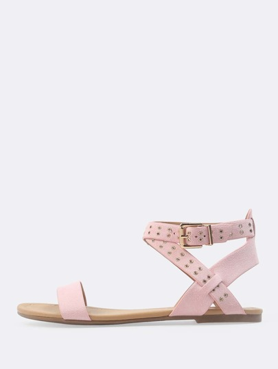 Cross Ankle Strap Eyelet Sandals PINK