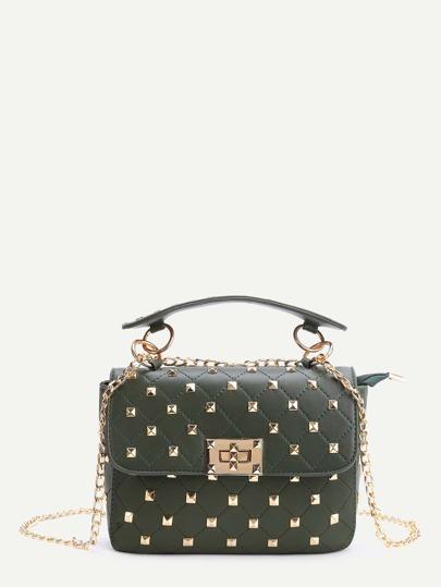 Green Studded PU Chain Bag With Handle