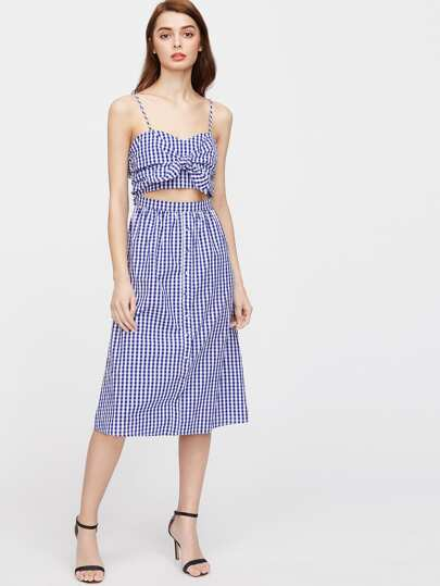 Checkered Knot Detail Midriff Cutout Cami Dress