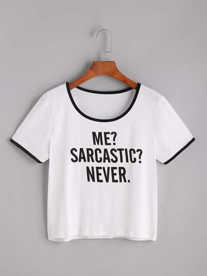 Camiseta con estampado de slogan - blanco