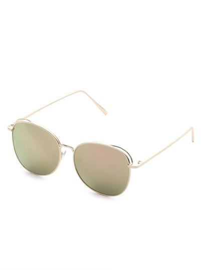 Gold Frame Flat Lens Sunglasses
