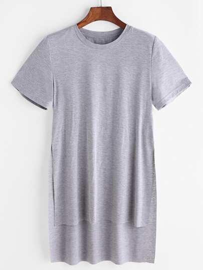 T-Shirt mit asymmetrischem Saum und Seite Schlitz