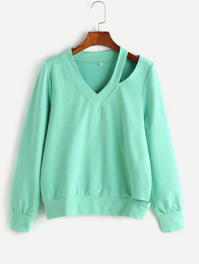 Green Asymmetric Cutout V Neck Sweatshirt