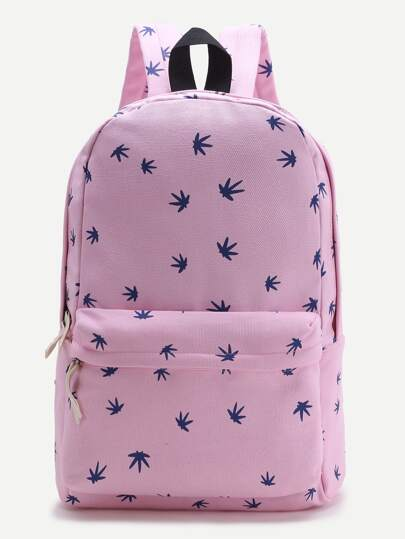 Pink Leaf Print Casual Backpack