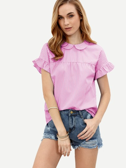 Pinstripe Peter Pan Collar Tie Back Ruffle Sleeve Top
