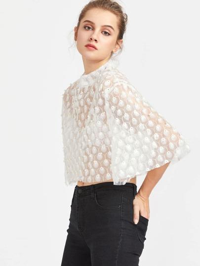 Elbow Sleeve Pearls Embellished Crop Top