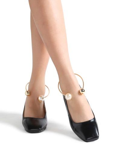Zapatos de tacón grueso cuadrado pu - negro