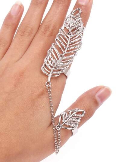 Silver Hollow Out Leaf Chain Linked Ring