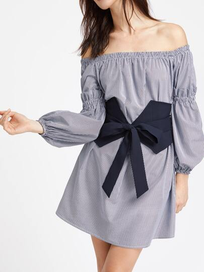 Navy Striped Off The Shoulder Dress With Wide Belt