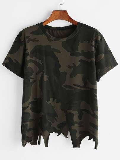 Camo Stampa asimmetrica Raw Hem T-shirt