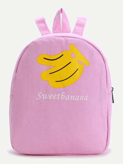 Pink Banana Print Canvas Backpack