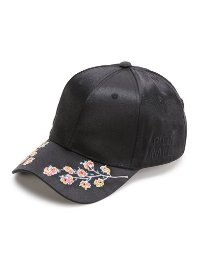 Black Flower Embroidery Baseball Cap