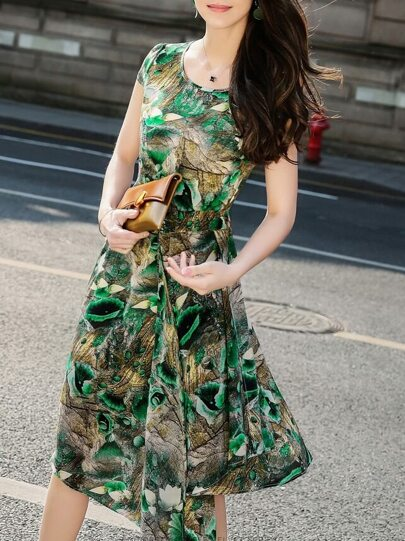 Green Flowers Print Asymmetric Dress