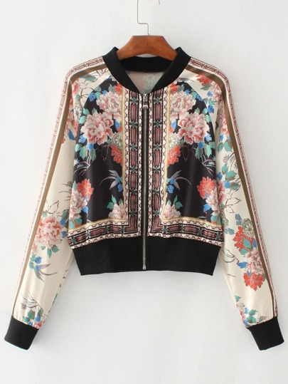 Multicolore Floral Stand Collar Bomber Jacket