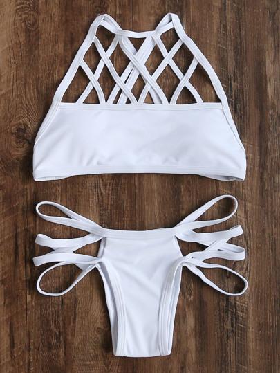 Ritaglio bianco della Croce Indietro Bikini